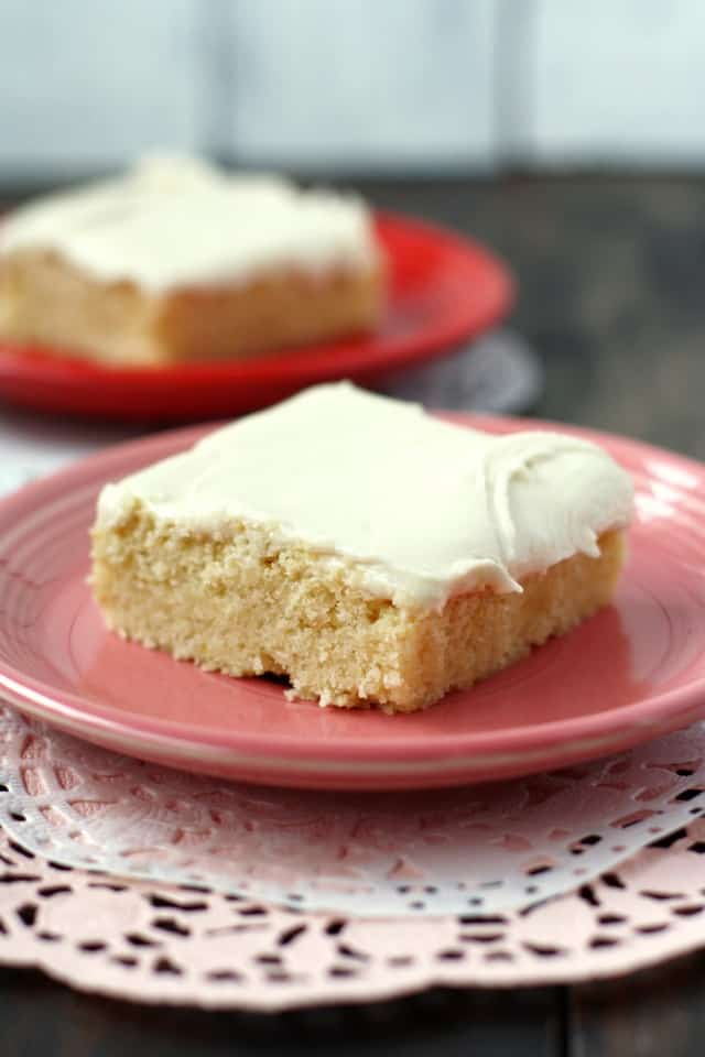Thick sugar cookie bars are topped with buttercream frosting for a sweet treat that's easy to make!