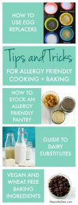 Learn how to cook for food allergies with these tip and tricks! Learn about dairy substitutions, egg replacers, and more on theprettybee.com.