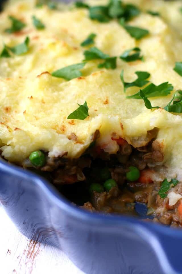 vegetarian shepherd's pie with lentils