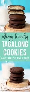 Allergy friendly Tagalong cookies are a delicious treat to make at home! These are vegan, gluten free, and nut free.