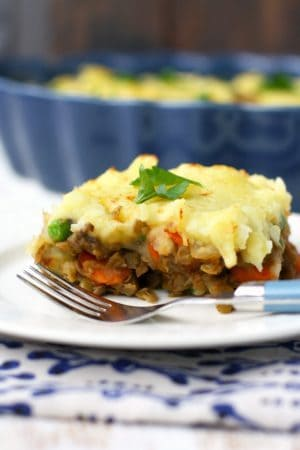 Vegan shepherd's pie is full of veggies and topped with creamy mashed potatoes. A delicious, comforting dish!
