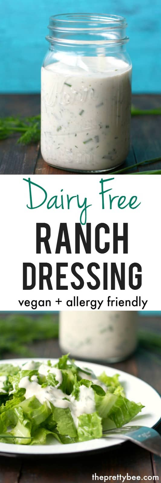 Homemade dairy free ranch dressing is perfect for topping salads or for dipping veggies! Creamy and delicious. #dairyfree #vegan #glutenfree