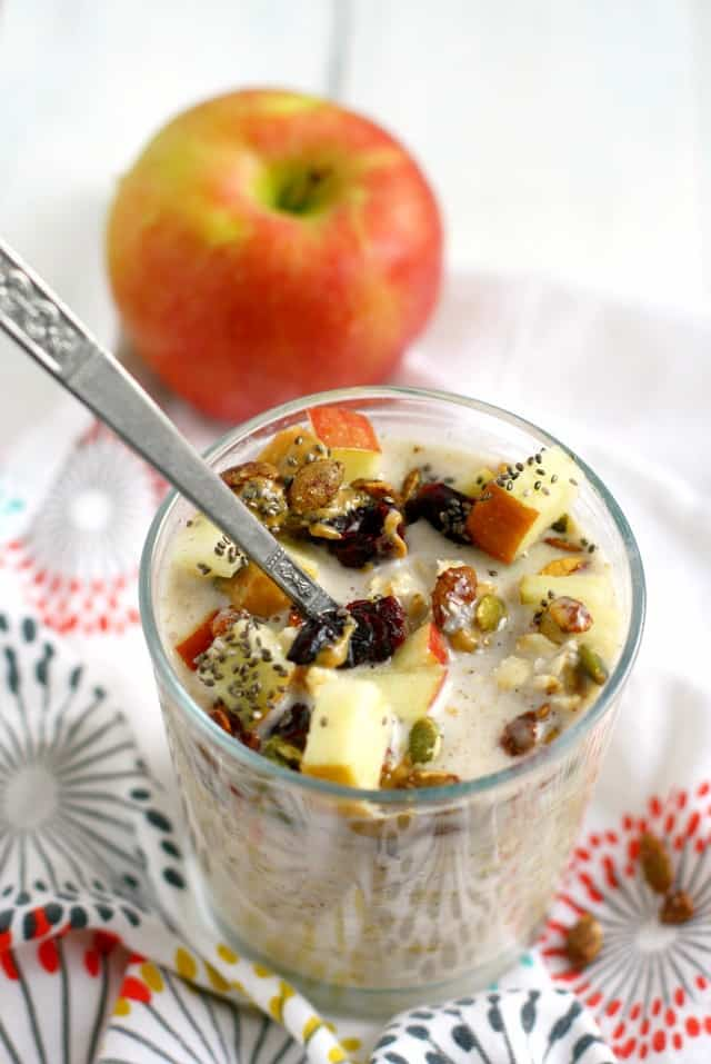 Dairy free overnight oats made with cranberries and pumpkin seeds.