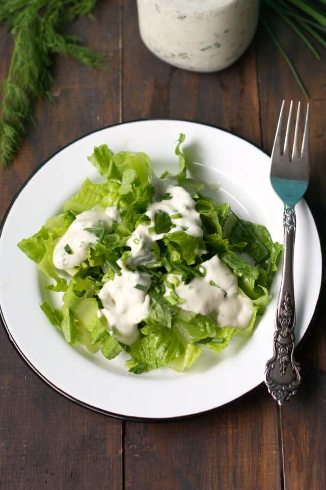 dairy free ranch dressing on romaine lettuce
