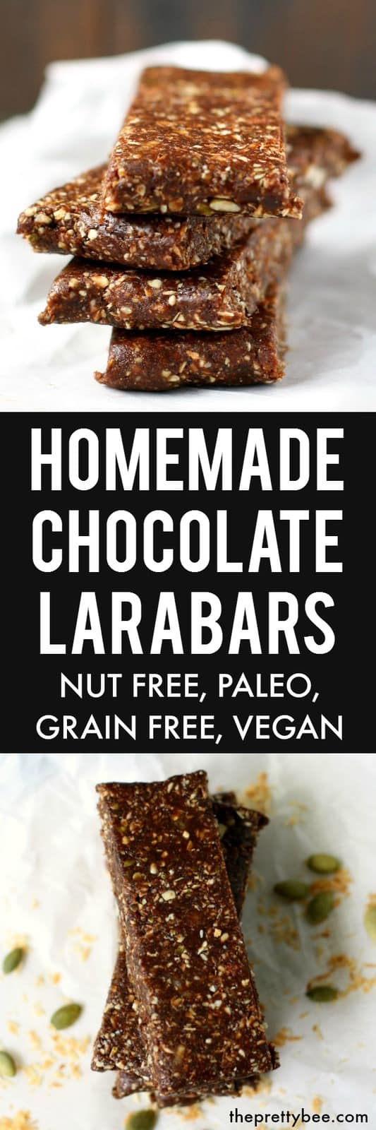 Delicious homemade chocolate larabars are the perfect snack that's refined sugar free, grain free, and nut free! #vegan #nutfree #glutenfree
