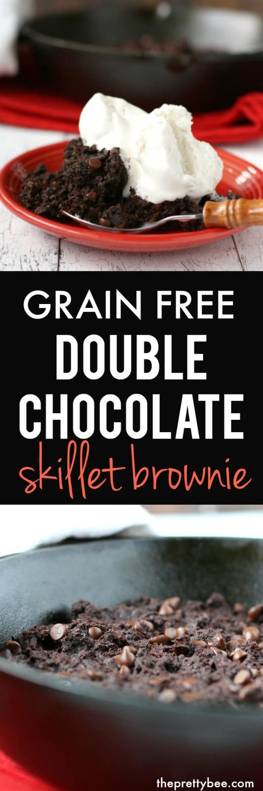 This grain free double chocolate skillet brownie is a delicious treat that's healthier, too!