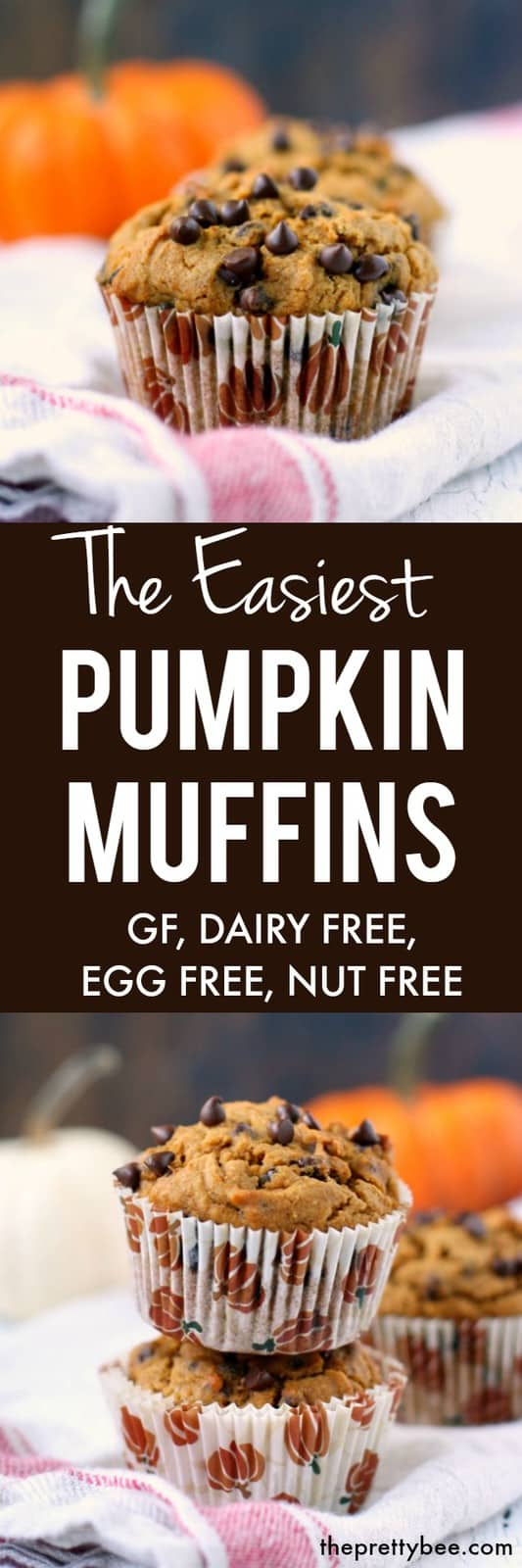 Delicious and easy gluten free, vegan, dairy free pumpkin muffins are just the thing to bake this fall! #dairyfree #vegan #glutenfree