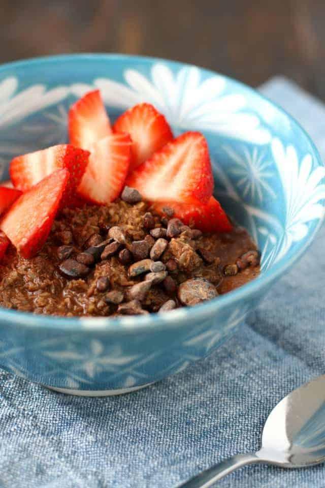 Gluten Free Chocolate Porridge With Strawberries