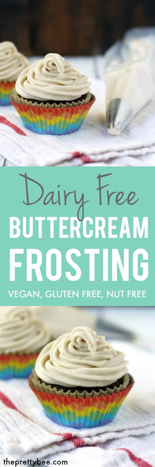 This dairy free buttercream frosting is smooth, creamy, and so decadent!