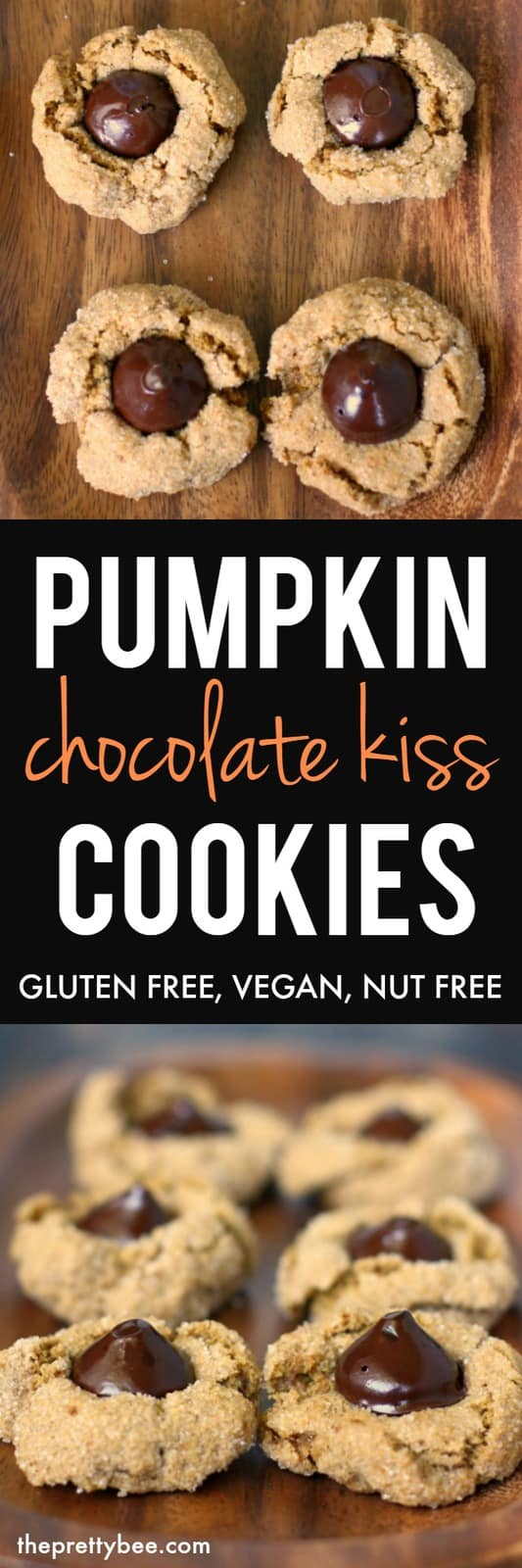 These vegan and gluten free pumpkin kiss cookies are nicely spiced, chewy, and chocolatey. These are perfect for a holiday party! #vegan #glutenfree