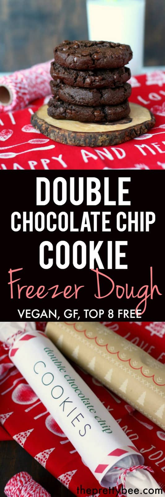 Give the gift of cookie dough! This recipe for double chocolate chip cookie freezer dough is gluten free, vegan, and allergy friendly!