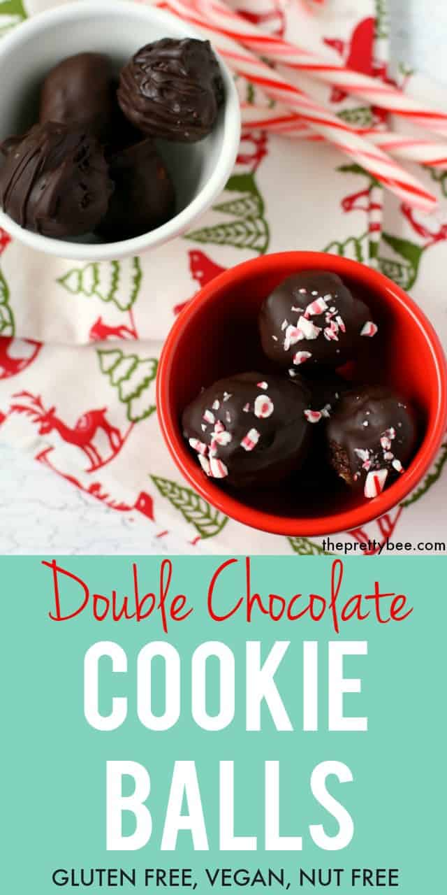 These gluten free double chocolate cookie balls are a festive holiday treat! Dipped in chocolate, with a cookie crumb filling, these are irresistible! #glutenfree #vegan