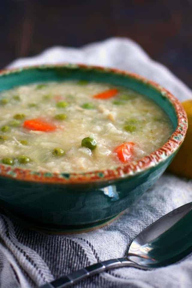 slow cooker lemon rice soup