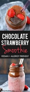 chocolate smoothie with strawberries