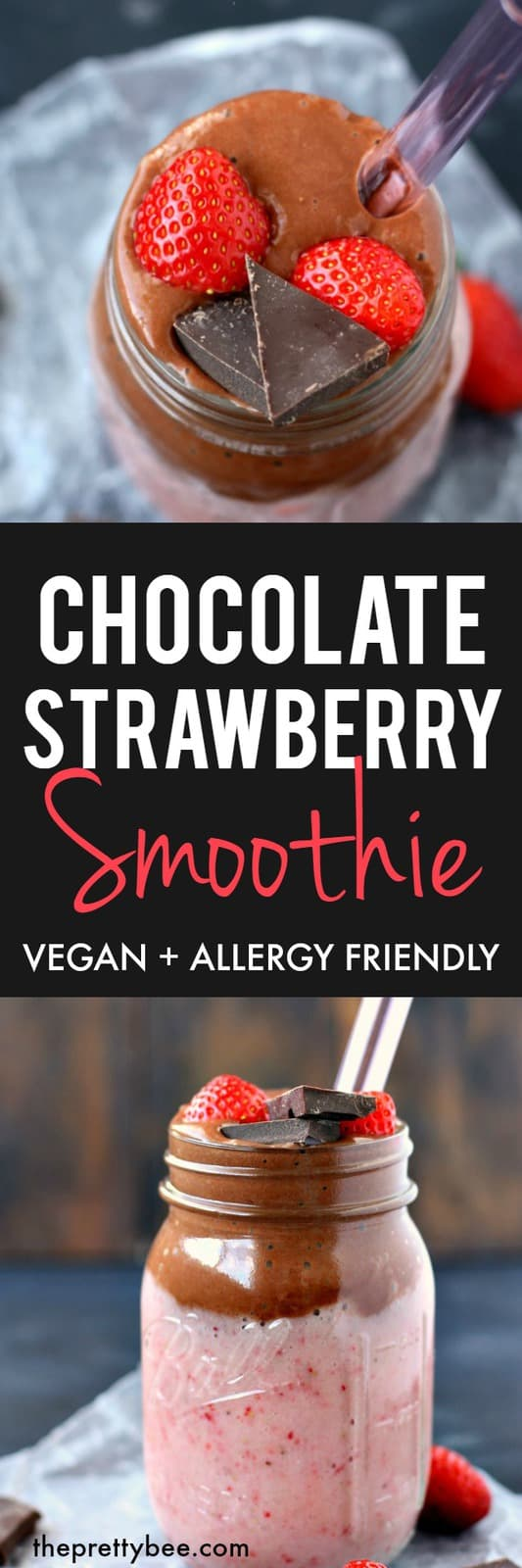 This chocolate strawberry smoothie is dairy free, vegan, and a healthy sweet treat! #dairyfree #glutenfree #vegan