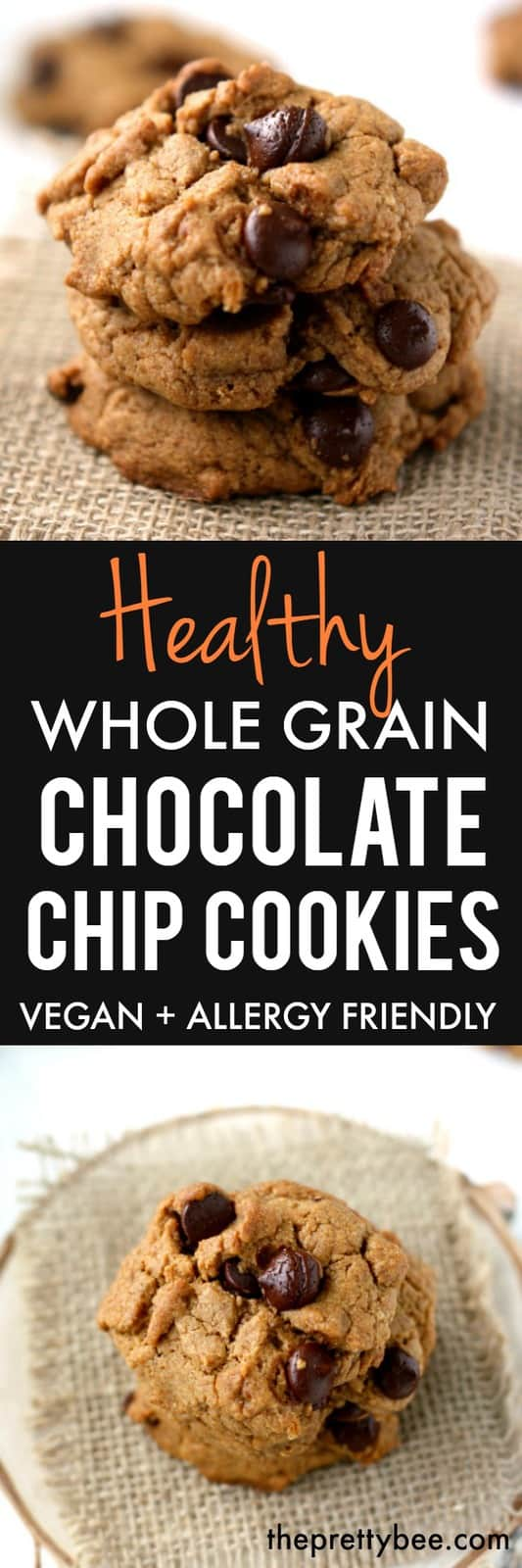 Healthy whole grain chocolate chip cookies are sure to be a crowd pleaser!