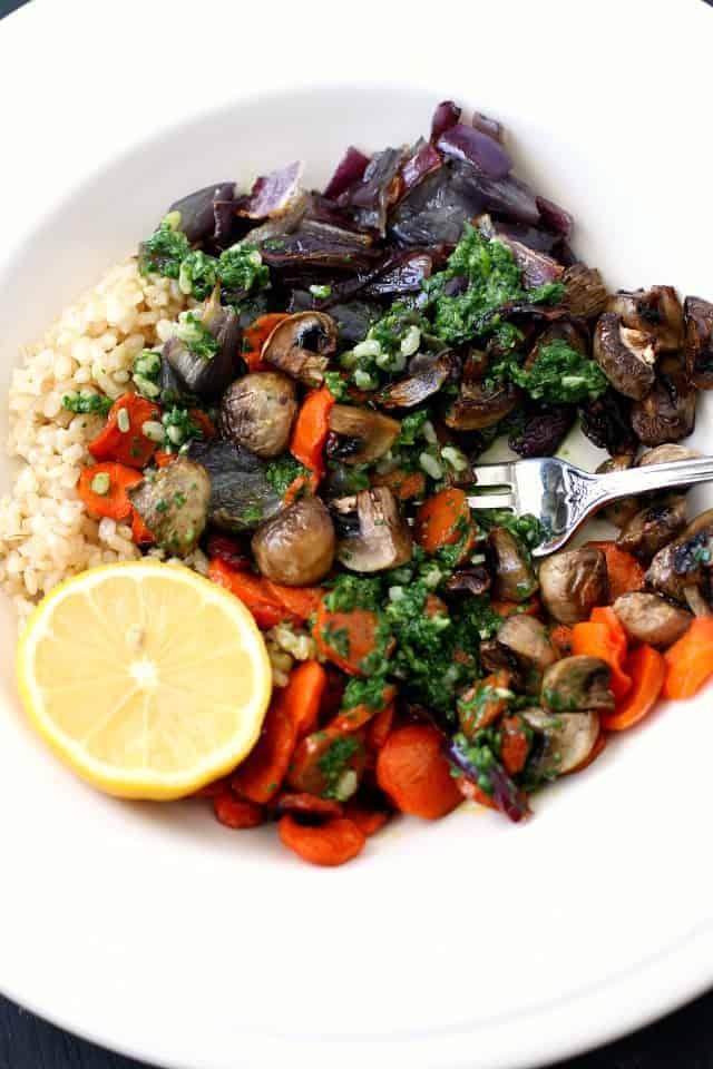 pesto rice bowl with roasted veggies