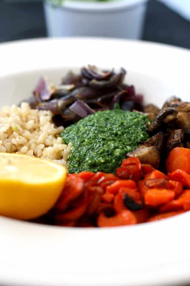 rice bowl with roasted veggies