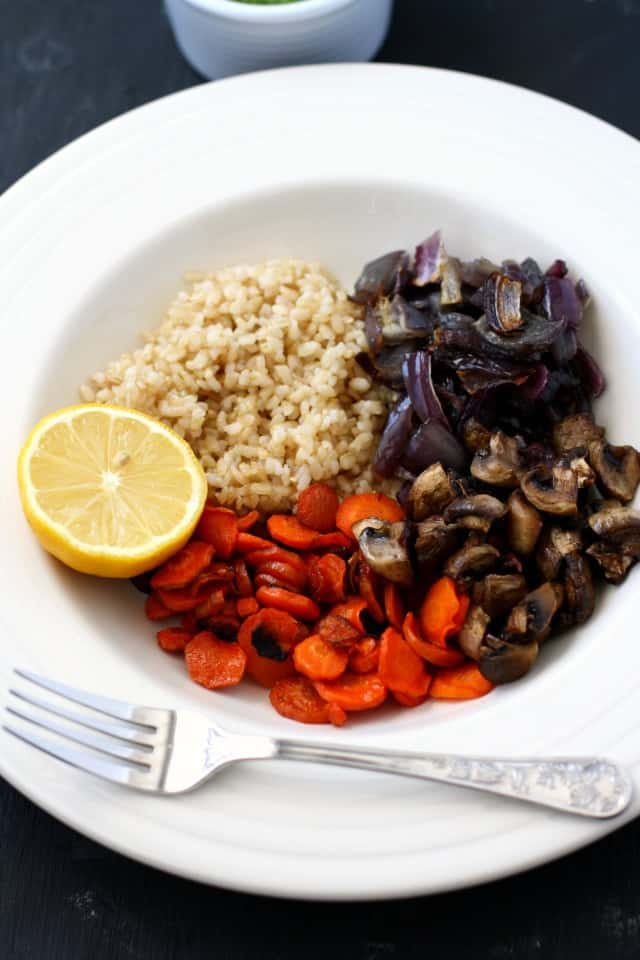 roasted vegetable and brown rice bowl
