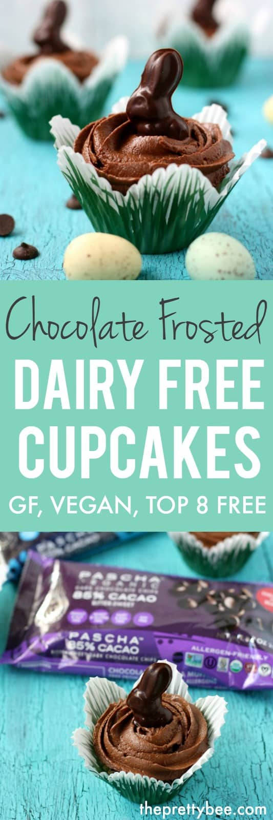 These chocolate frosted dairy free cupcakes are the perfect treat to make for a special occasion! #ad #dairyfree #glutenfree #vegan