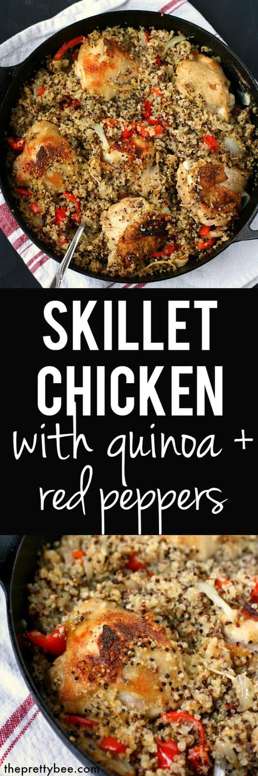 This skillet chicken with quinoa and red peppers is naturally gluten free and dairy free, and a delicious meal for Sunday dinner!