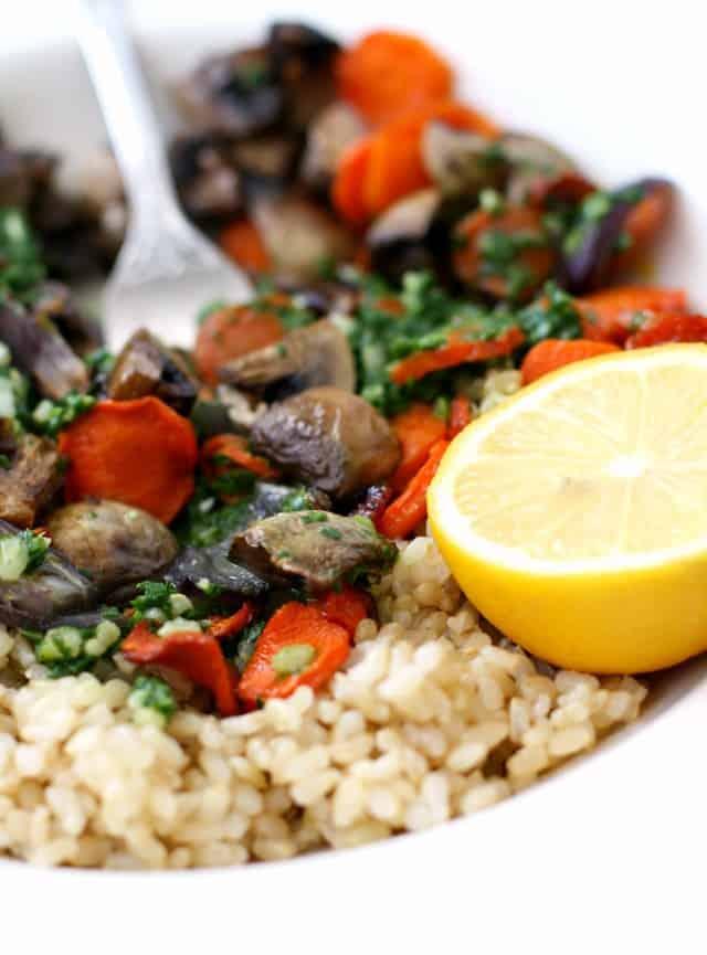 rice bowl with carrots mushrooms pesto