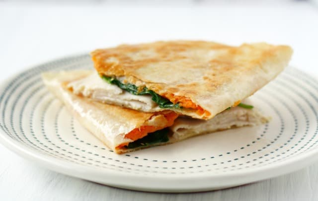 spinach turkey quesadilla