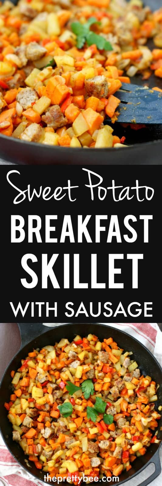 Delicious and hearty, this sweet potato breakfast skillet with sausage is the perfect way to start your day! #glutenfree #grainfree #eggfree