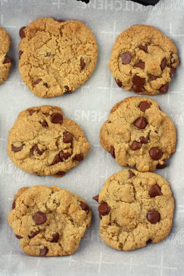vegan chocolate chip cookies on cookie sheet