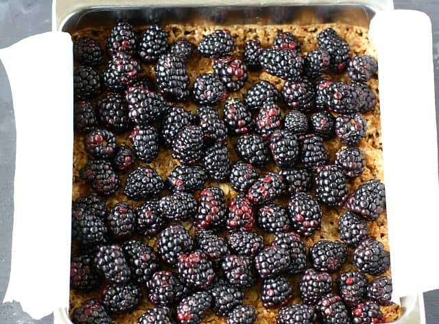 blackberry crumble before baking