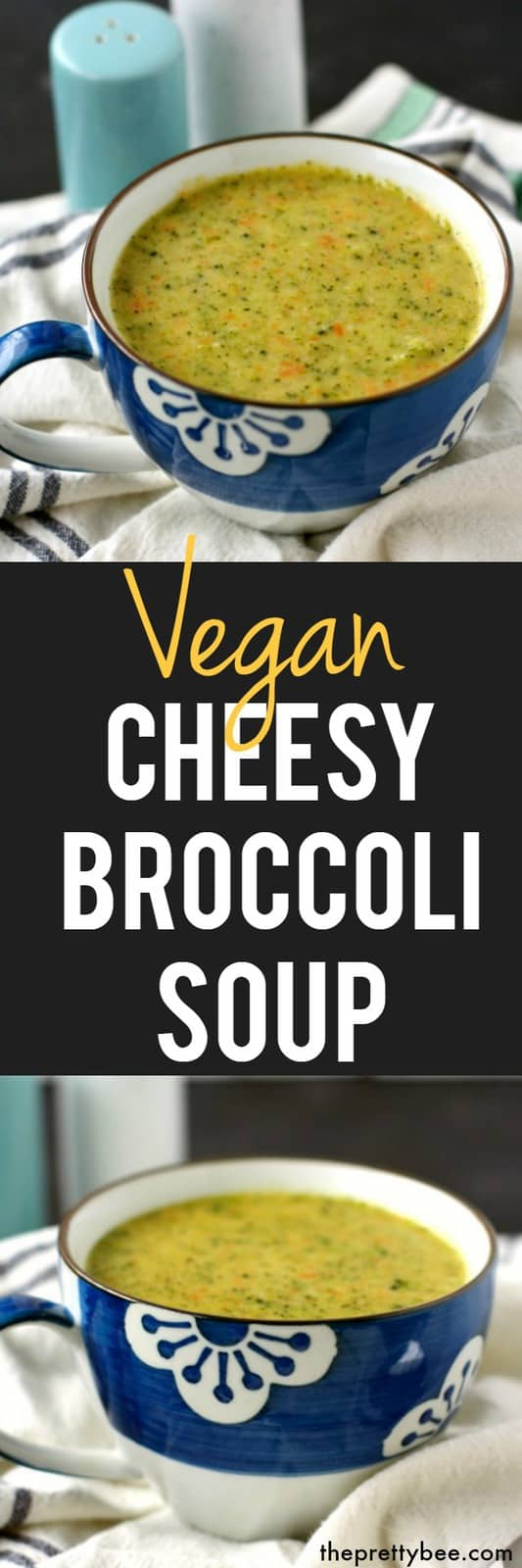 This vegan cheesy broccoli soup is so delicious on a cool day! It's rich, creamy, and cheesy! #vegan #plantbased #dairyfree #glutenfree