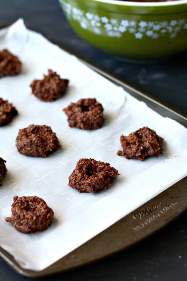coconut thumbprints on cookie sheet