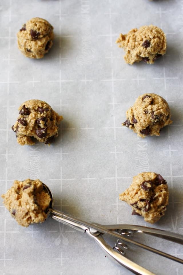 oat flour cookie dough in cookie scoop