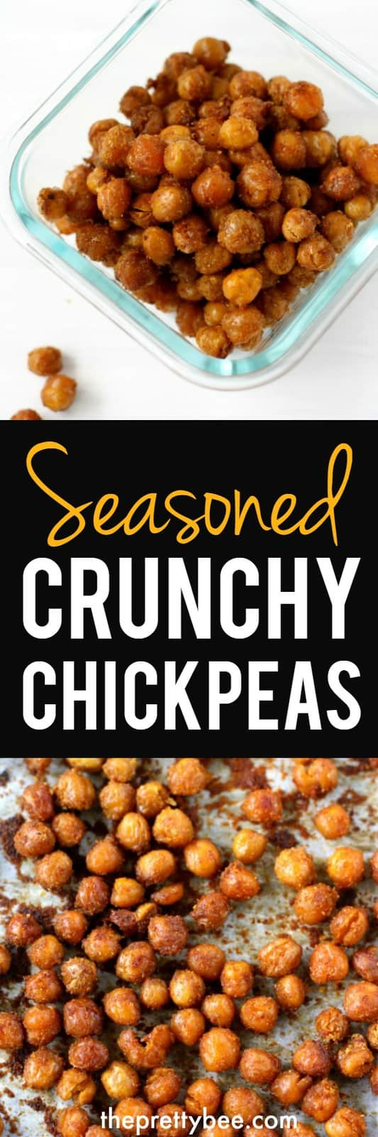 These seasoned crunchy chickpeas are a delicious an healthy snack that your family will love! #vegan #glutenfree #grain free #dairyfree #chickpeas