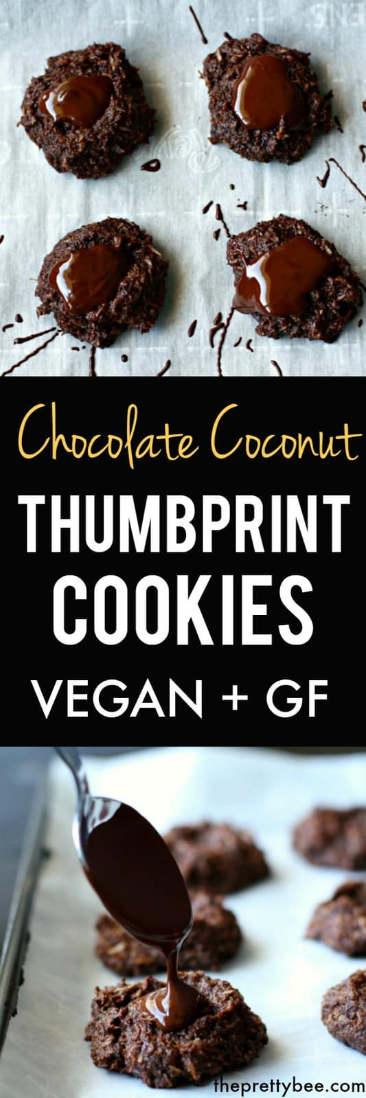 These rich chocolate coconut thumbprint cookies are grain free, vegan, and deliciously decadent! #vegan #grainfree #glutenfree #chocolate #dairyfree