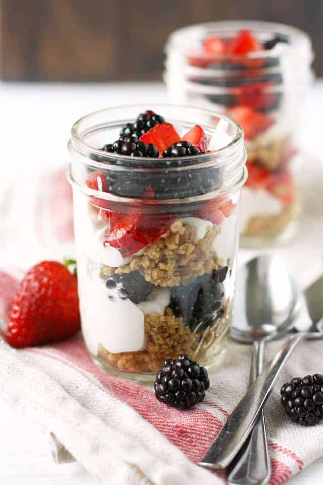 dairy free berry parfaits in mason jars