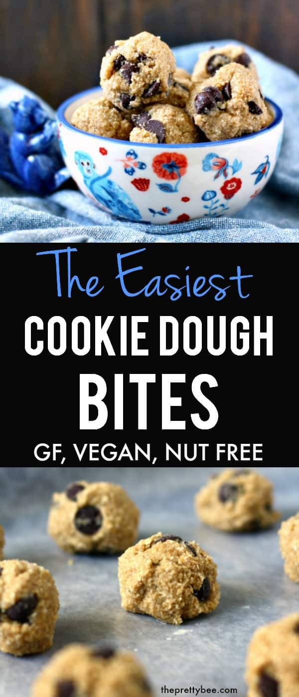Easy, delicious, and safe raw cookie dough bites! These chocolate chip bites are just the thing to eat when you have a cookie dough craving! #vegan #dairyfree #eggfree #glutenfree #nobake