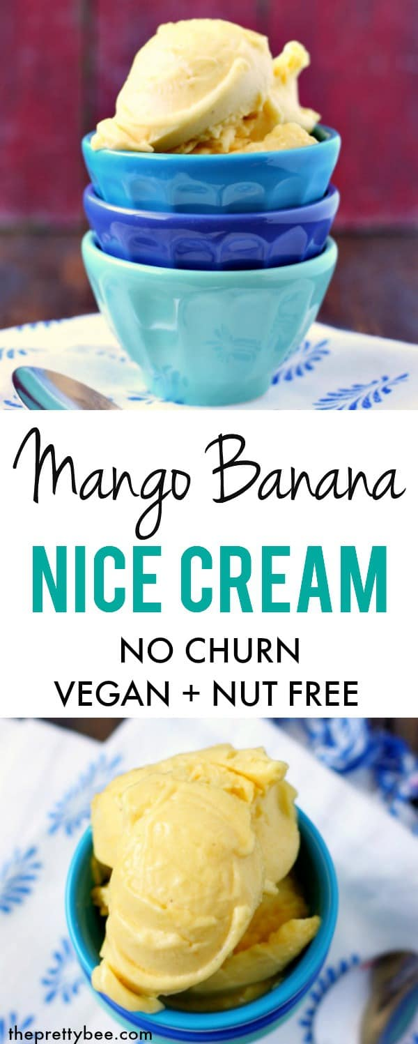 This mango banana nice cream is so delicious and creamy! Just two ingredients are all that's needed to make this wonderfully frosty treat. #vegan #dairyfree #grainfree #nicecream