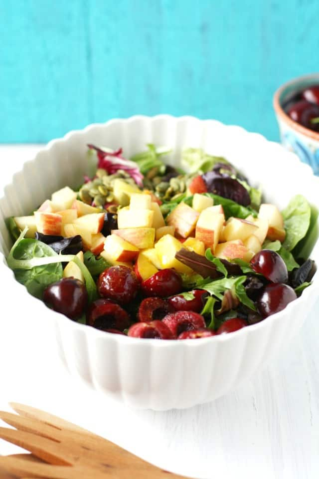 summer salad with apples and cherries