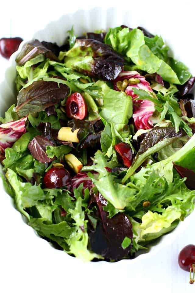 summer salad with fruit and greens