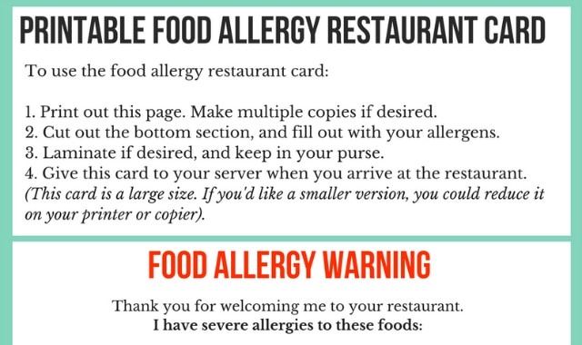 dining out with allergies