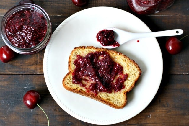 3 Ingredient Cherry Chia Jam  - The Pretty Bee