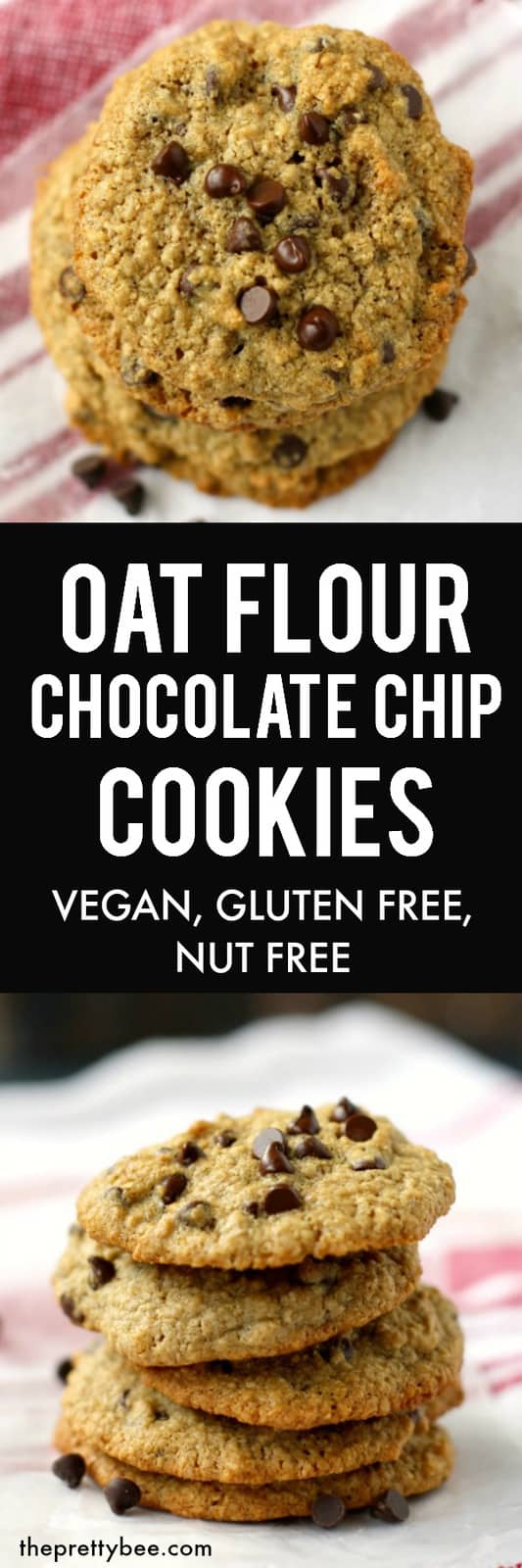These gluten free oat flour cookies are easy to make, and so delicious! #dairyfree #glutenfree #vegan #nutfree