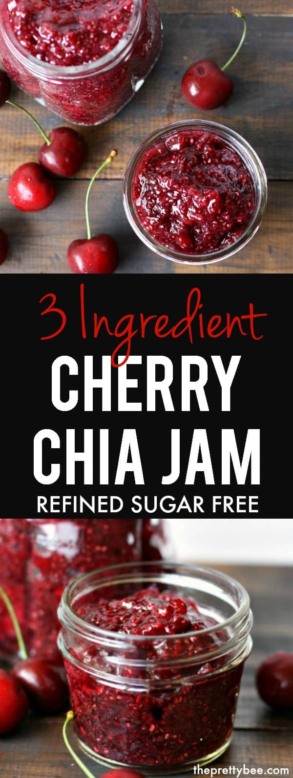 Make this 3 ingredient cherry chia jam - it's delicious on toast or bagels! So easy to make, no canning required! #vegan #glutenfree #dairyfree #grainfree