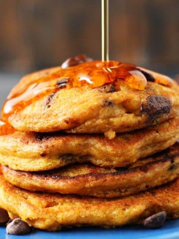 vegan pumpkin pancakes with syrup