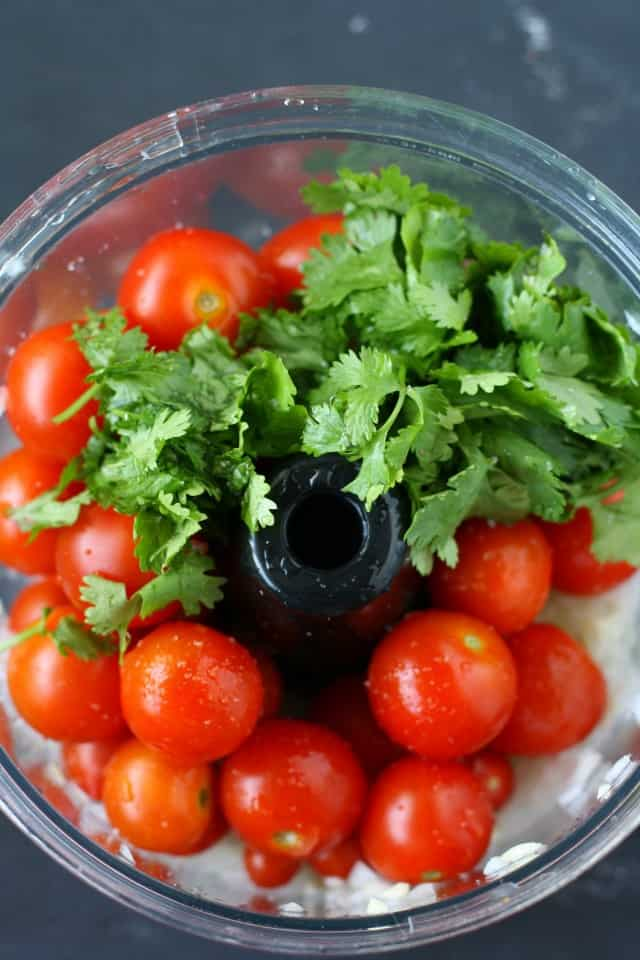 cherry tomatoes in food processor