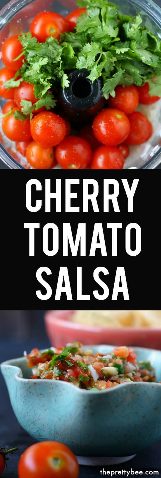 This easy cherry tomato salsa is the perfect way to use up your garden tomatoes! This is perfect over chips or tacos. #dairyfree #glutenfree #vegan