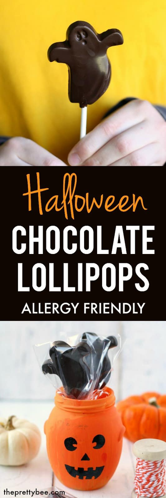 These Halloween chocolate lollipops are so easy to make, and are allergy friendly, too! #halloween #vegan #dairyfree #glutenfree #nutfree