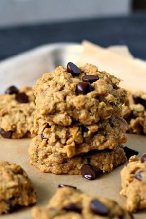 stack of pumpkin chocolate chip oatmeal cookies