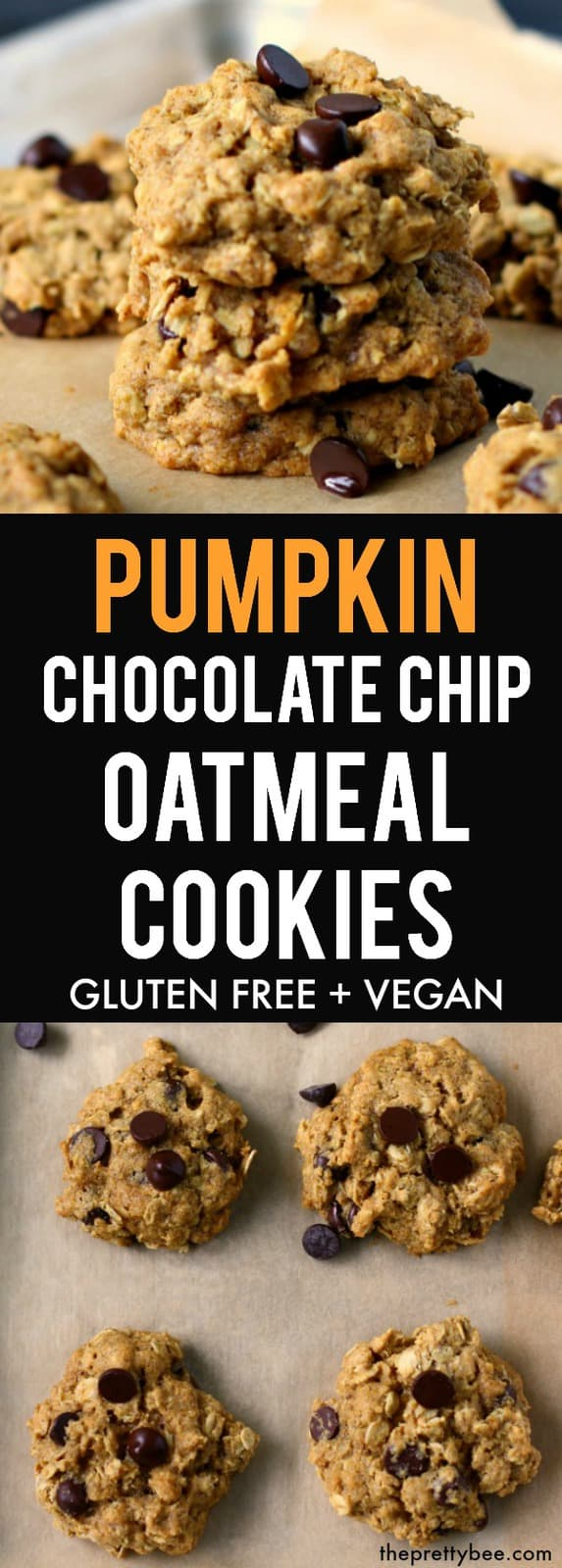 These chewy pumpkin chocolate chip oatmeal cookies are the perfect fall treat! These are delicious on a cool fall day. #pumpkin #vegan #glutenfree #dairyfree